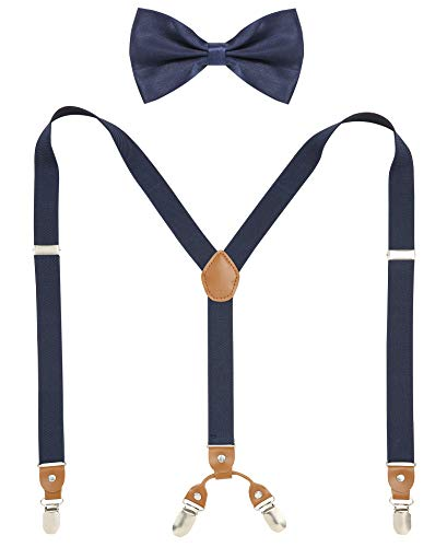 (Navy Bow Tie and Suspenders for Men Y-Shaped Back Suspenders Bow tie)