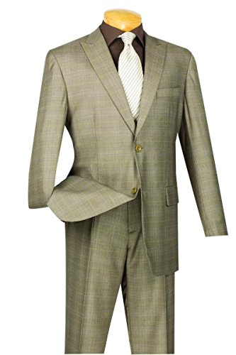 Vinci Wool Feel 2 Botton Single Breated Glen Plaid Suit 2RW-1-Tan-46L