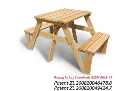 Spring Sale - Lohasrus Kids Picnic Table 20301 - Passed Safety Standards Astm F963-07, Dual Non-toxic Painted Fir, for Ages 2 to 6, 1 Seated Each Side, Free Drawing Book