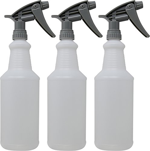 Empty Plastic Spray Bottle 32 Ounce, Professional Chemical Resistant with Grey color Sprayer for Chemical and Cleaning Solution, Heavy Duty (Pack of 3) - Impact Resistant Plastic