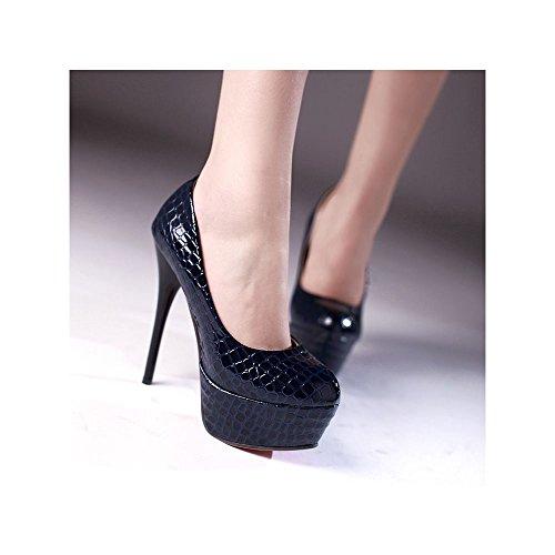 Femeninos atractivos del talón de 13,5 cm de alto zapatos de tacón de plataforma de 4,5 cm Azul