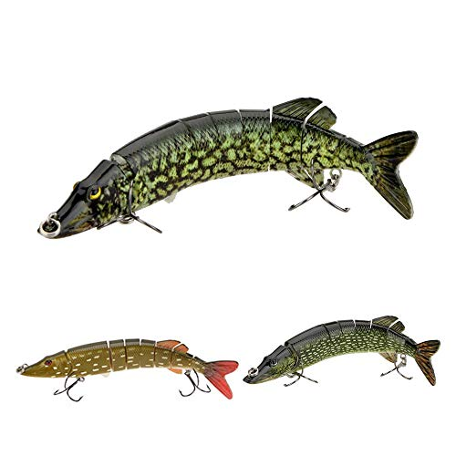 Lixada Fishing Lures 8 Segment Lifelike Swimbait 20cm/8in 66g Multi Jointed Artificial Bait Hard Bait Crankbait Treble Hooks for Bass Perch Trout, 8 Colors ()