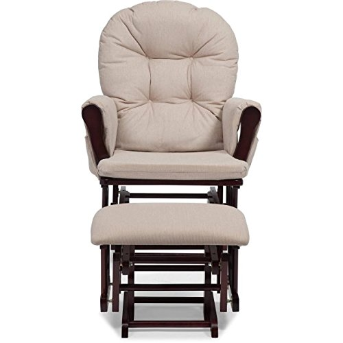Bowback Glider and Ottoman Cherry Finish and Beige Cushion, Metal, Enclosed Ball Bearings For an Extremely Smooth Glide Motion, The Pads are Polyester With a Very Soft, Luxurious Feeling by GAShop