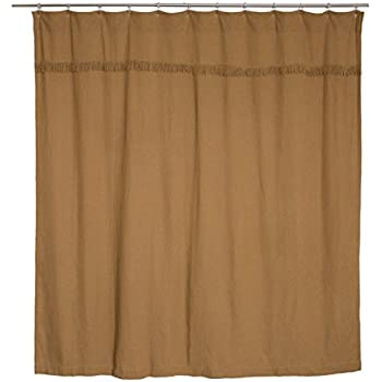Amazon.com: VHC Brands 6172 Burlap Natural Shower Curtain Unlined ...