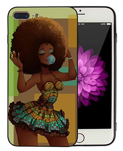 Afro African American Girl iPhone 7 Plus iPhone 8 Plus Case Afric Women Vintage Beautiful Art iPhone7 Plus iPhone8 Plus Cover Drawing Painting Black Love Design - KITATA