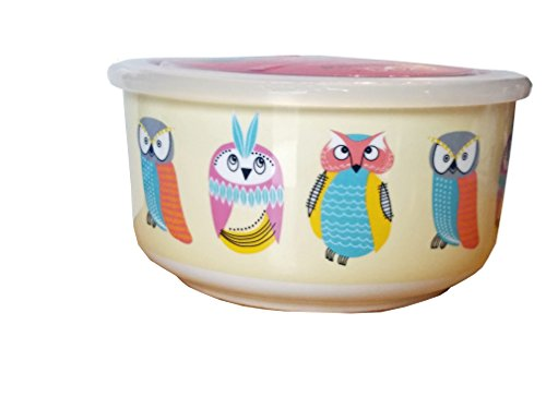 Ciroa Microwaveme Fine Porcelain Microwave Bowl with Silicone Seal Lid 6.5 Inch (Yellow Owls 2)