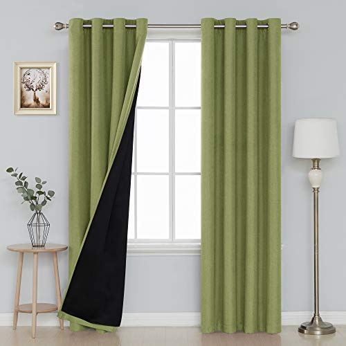 Deconovo Thermal Insulated Faux Linen Green Curtains with Black Linner 100% Blackout Curtains for Living Room 52x95 Inch, Set of 2 ()