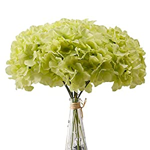 Aviviho Hydrangea Silk Flowers Green Heads Pack of 10 Full Hydrangea Flowers Artificial with Stems for Wedding Home Party Shop Baby Shower Decoration