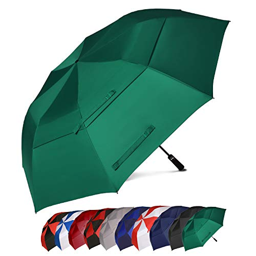 BAGAIL 62 Inch Portable Golf Umbrella Large Oversize Double Canopy Vented Windproof Waterproof Automatic Open Stick Umbrellas for Men and Women (Dark Green)