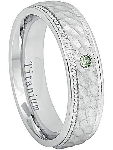 0.07ct Alexandrite Titanium Ring - June Birthstone Ring - 6MM Comfort Fit White Dimpled Center with Milgrained Edge Titanium Wedding Band - ()