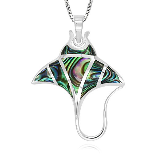 925 Sterling Silver Abalone Shell Stingray Pendant Necklace, 18