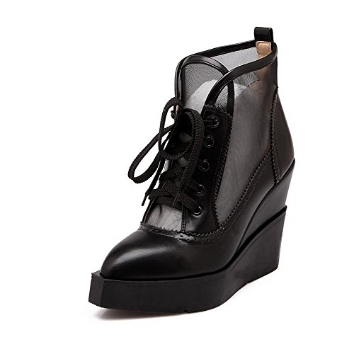 Pinker Allhqfashion with High Material PU Black Winkle Slipping Boots Sole Soft Heels Women's and 77xAwqpH