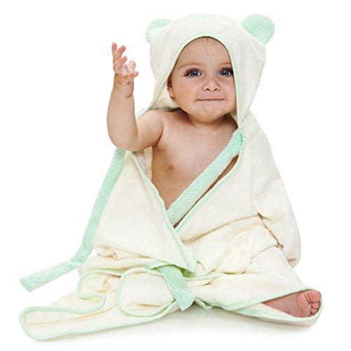 Ha&Da Hooded Bamboo Baby Bath Towel – Boys & Girls, Soft, Organic, Baby Shower Gift, Ties on Parent's Neck, Bonus eBook