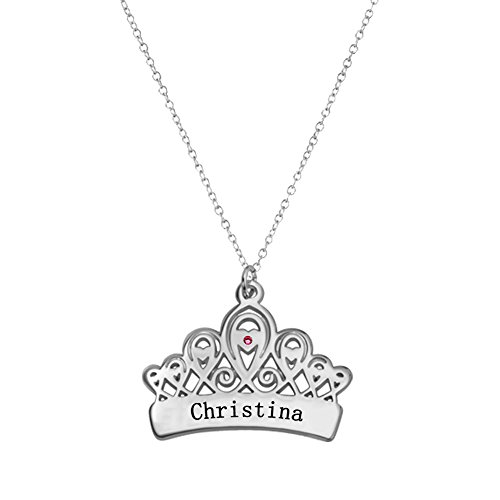 Ouslier 925 Sterling Silver Personalized Birthstone Queen Crown Pendant Necklace Custom Made with 1 Name (Silver)
