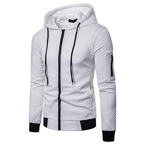 Mens Pocket Lattice Splicing Pullover Long Sleeve Hooded Sweatshirt -