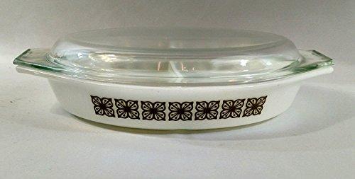 Vintage Pyrex Divided Casserole Dish Verde / Square Flowers Design 1 1/2 Qt. No Lid