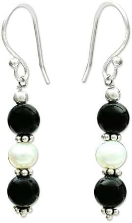NOVICA Onyx Cream Cultured Akoya Pearl .925 Silver Beaded Hook Earrings, 'Midnight Dreams'