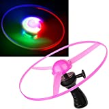 3 Color LED Light Hand Pull Line UFO Flying Toy LED Lamp Frisbee Flying with Wheel for Party Holidays and Outdoor Activity(3PCS)