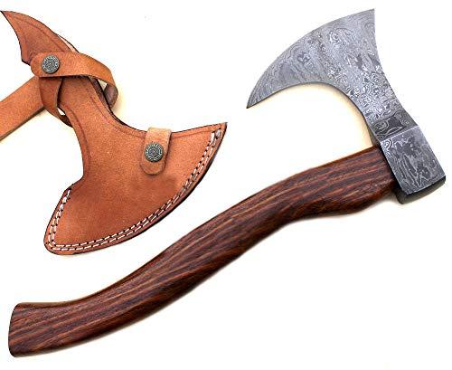 Handmade Damascus Steel Axe Hatchet Knife 16 Inches Rose Wood Handle JNR9054
