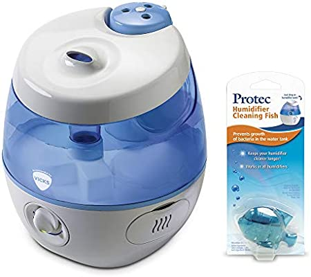 Vicks Sweet Dreams Cool Mist Humidifier with Image Projector and ProTec Cleaning Fish Antibacterial Accessory Bundle
