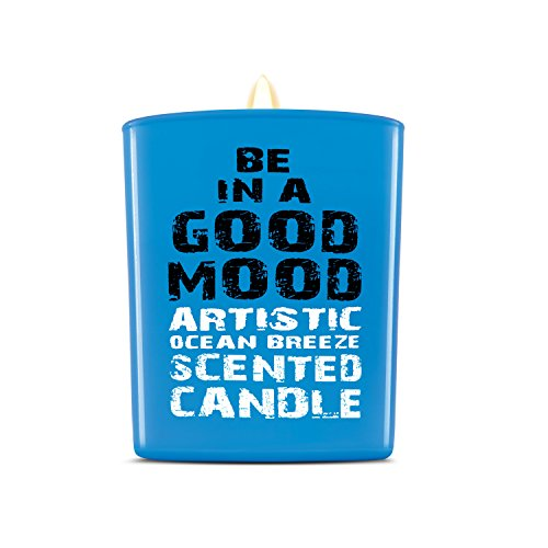 Be in a Good Mood Aromatherapy Candles   Premium Scented Candles   Each Candle Set is Crafted with Perfection - Candle Jars, Hand Poured with Non-Toxic Mineral Wax & Cotton Wick (Ocean Breeze)