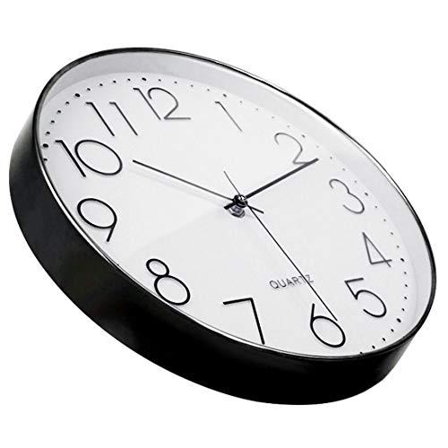 Tosnail 12 Inches Round Silent Non Ticking Quartz Wall Clock - Elegant Black Frame 5