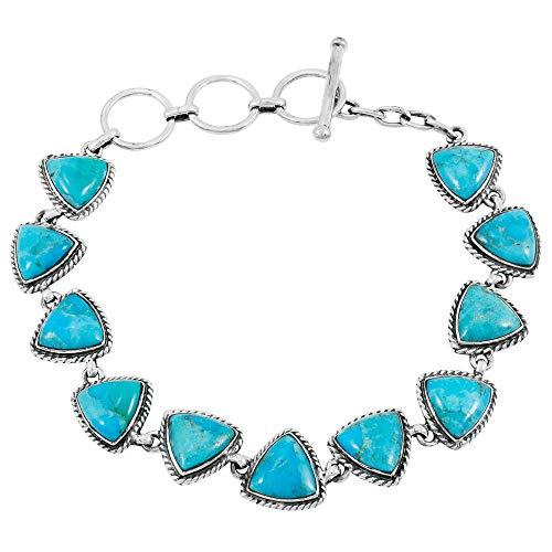 Turquoise Bracelet Sterling Silver 925 Genuine Turquoise Gemstones Link Bracelet (Turquoise)