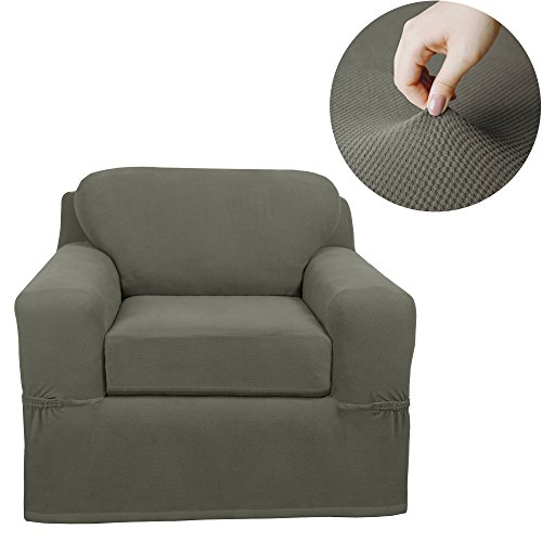 MAYTEX Pixel Stretch 2 Piece Arm Chair Furniture Cover Slipcover, Dusty Olive Green -