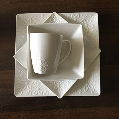 16-piece Fine Porcelain Dinnerware Set by Roscher | Service for Four (4), Ivory Floral Kareena Design, Includes Dinner Plates, Salad Plates, Bowls, and Cups (Dinnerware Fine Set Porcelain)