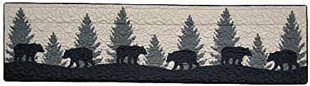 Donna Sharp Valance – Bear Walk Plaid Lodge Decorative Window Treatment with Bear Pattern