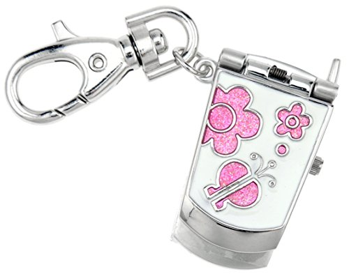 JAS Unisex Novelty Belt Fob/Keychain Watch Pink Cell Phone Silver Tone