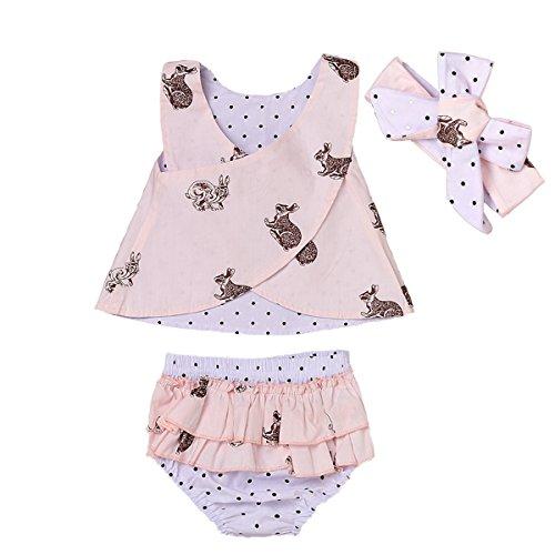 Cute Little Rabbit Set (3pcs Baby Girls Rabbit Polka Dot Vest Shirt+Ruffled Shorts+Headband Outfits Set (2-3 Years, Pink))
