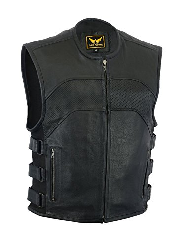 A&H Apparel Mens Motorcycle Biker Classic Vest Genuine Cowhide Leather Vest With Gun Pocket (Large)