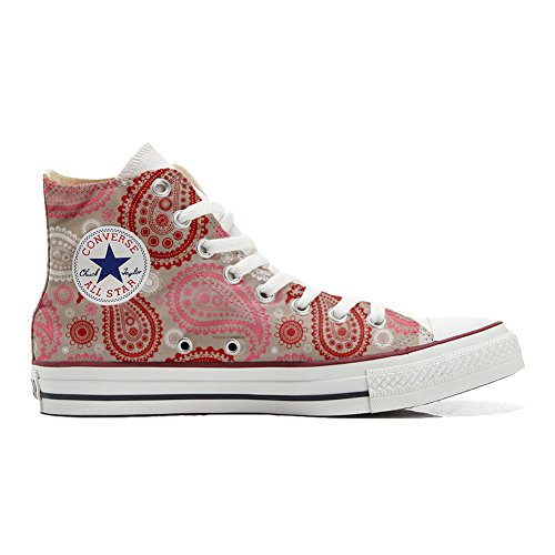 Converse All Star zapatos personalizados (Producto Handmade) Red Pink Paisley