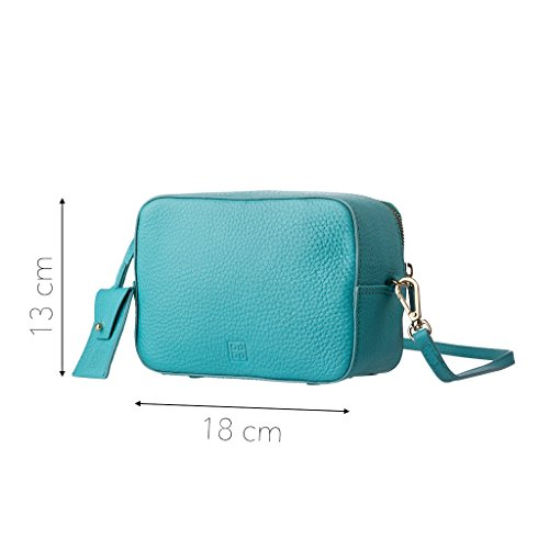 DUDU Mini Borsa donna Bag Piccola in morbida Pelle con Cerniera zip e Tracolla regolabile Turchese