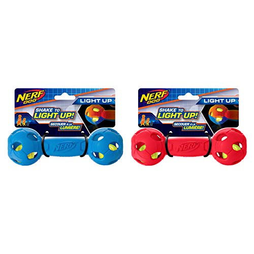 Nerf Dog Assortment: 7in LED Bash Barbell 2 Pack, Red & Blue, Dog Toy