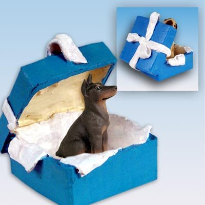 Doberman Pinscher Blue Gift Box Dog Ornament - Red
