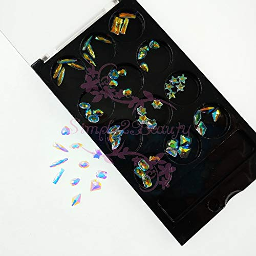 Kamas 1 Set 60PCS AB Unfoiled Flatback Glass Crystal Rhinestones 3D Salon Acrylic Nail Art Jewelry Crafts DIY Decorations Accessories