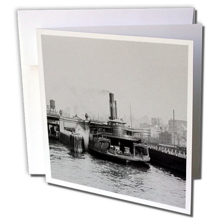 Scenes from the Past Magic Lantern - Vintage Catskill Ferry New York Hudson River Magic Lantern 1920-12 Greeting Cards with envelopes (Vintage Ferry)