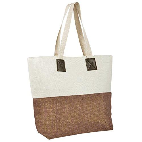Ladies Canvas Beach Shoulder Bag Handbag Shopping Tote Holiday Shimmer Chocolate