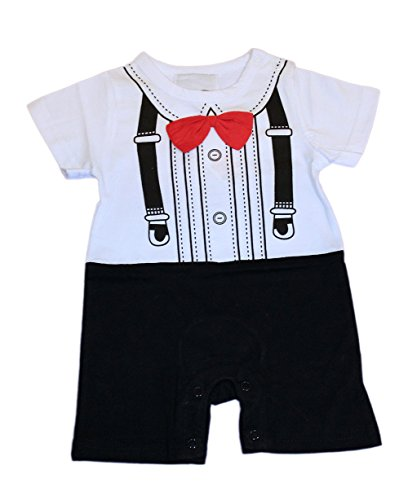StylesILove Baby Boy Short-sleeve 3D Red Bow Tuxedo Print Onesie Romper Outfit (3-6 Months)
