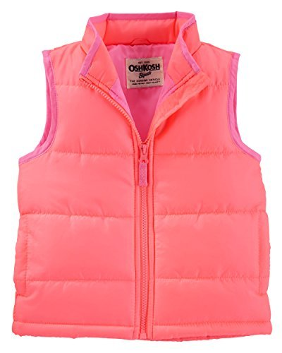 OshKosh B'Gosh Girls' Puffer Vests- Coral - Pink Lining (10) ()