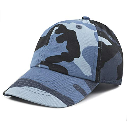 - The Hat Depot Kids Washed Low Profile Cotton and Denim Plain Baseball Cap Hat (Blue Camo)
