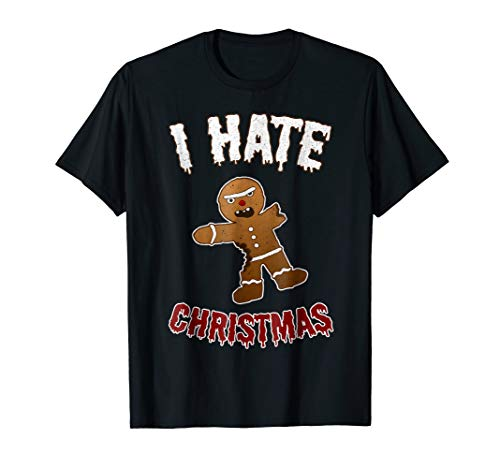 Zombie Gingerbread Man T Shirt Hate Christmas Tee Xmas -