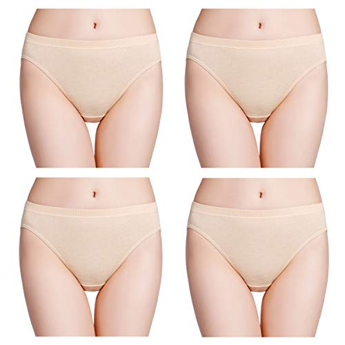 wirarpa Women's Soft 100 Cotton Underwear Panties Ladies High Cut Briefs Skin Color 4 Pack Size 7
