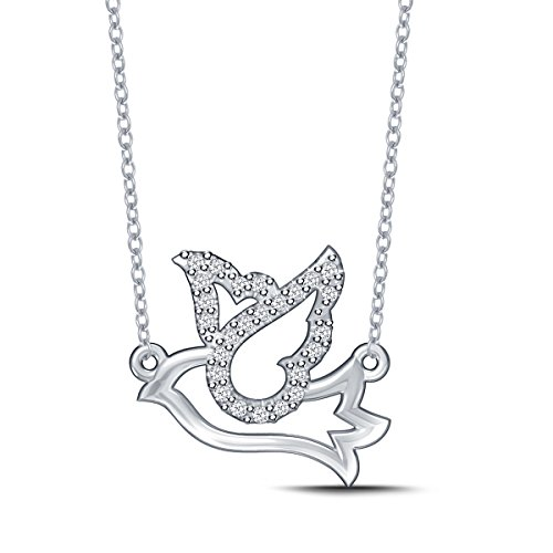 Diamond Dove Pendant Necklace in 925 Silver (0.08cttw, IJ / I2-I3) 18'' by EternalDia (Image #4)