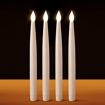 """BRIGHT ZEAL Set of 4 Flickering Flameless Taper Candles with Remote & Batteries (10.8"""" Tall) - Fake Candles with Realistic Flame - Home Improvement Votive Candles - LED Candles for Wedding, Halloween"""