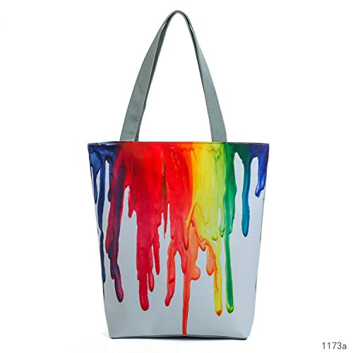Flowertree Unisex Color Spill 3D Print Cloth Tote Shoulder Bag Shopping Bag Grey (color)