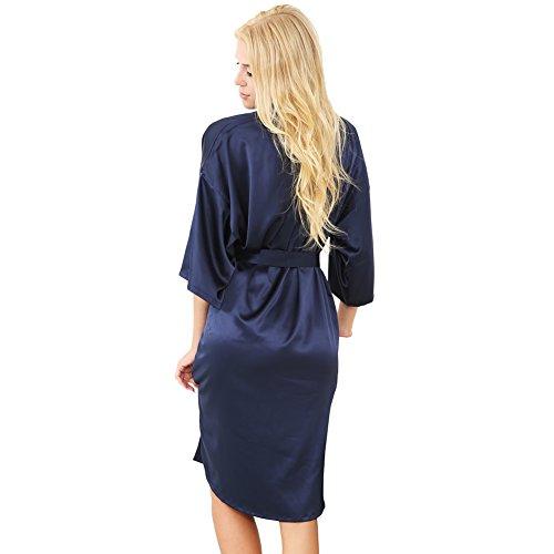 Stile Kimono Lunga beauty Vestaglia Raso Donna S In Navy Blu Da 0Eqw8Z8a