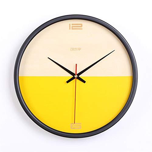 GUJIAO Wall Clock Nordic Minimalist Creative Bedroom Clocks Wooden Ultra-Quiet Modern Living Room Round 12In,Yellow